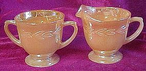 Fire King Peach Lustre laurel creamer and sugar set