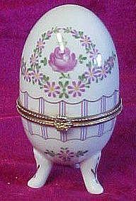 Floral porcelain egg trinket box