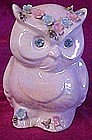 Vintage Lefton lustre owl planter,  big rhinestone eyes