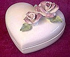 Vintage heart shape ceramic box with applied Roses