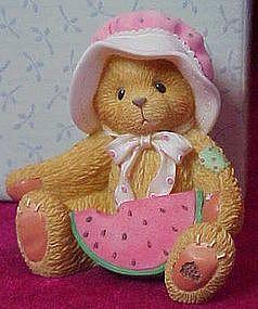 Cherished teddies Londa with watermelon figurine