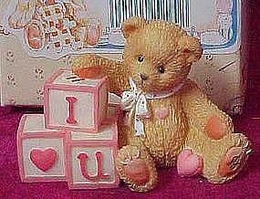 """Enesco Cherished Teddies """"I love you"""" mini figurine MIB"""