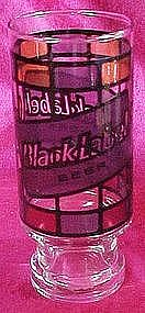 Black Label beer stained glass advertising tumbler