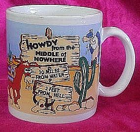 Souvenir coffee cup, 50 miles from nowhere, 2 feet...