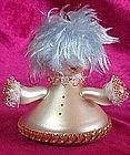Vintage blown glass girl ornament, fur hair,