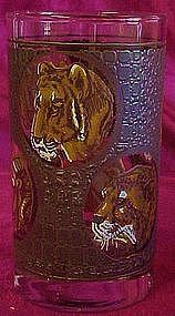 "Safari  African animal 5"" glass  water tumbler"