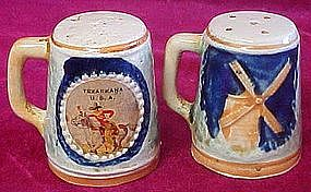 Vintage souvenir shakers, Texarkana, cowboy / windmills