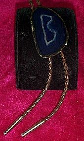 Polished obsidian / agate  bolo tie, natural letter B