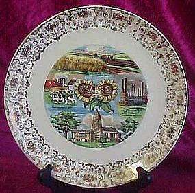 Vintage souvenir plate, Kansas the sunflower state