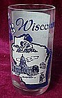 State of Wisconsin vintage drinking glass. song on back