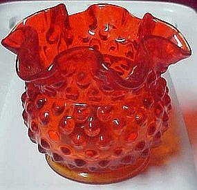 Fenton squatty ruffle hobnail vase, amberina