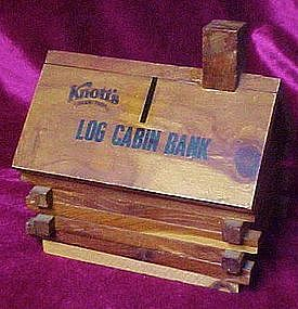 Cedar log cabin bank, souvenir of Knotts Berry Farm