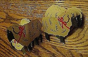 Vintage paper cutout sheep, joined together, foldout