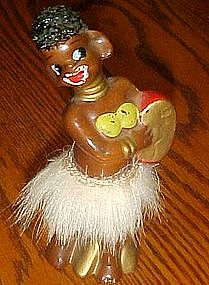 Vintage Enesco tall African native figurine, fur skirt