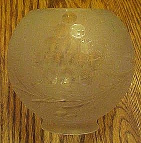Antique frosted light globe, cut grape pattern