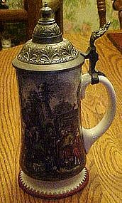 Midevil scene beer stein, pewter lid, by Kurt Hammer