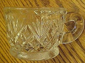 Crystal clear glass punch cups, diamonds & fan pattern
