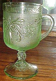 Tiara sandwich glass, chantilly green pedestal mug