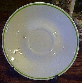 Corelle saucer, green edge ring, Glendora?