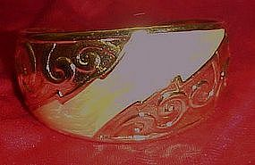Avon gold tone and cream enamel cuff bracelet