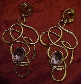 Avon gold tone post earrings, with amethyst stone