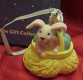 Avon Busy bunny Easter ornament, Bunny in a basket, box