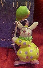 Avon Easter bunny clown ornament with balloons, boxed