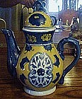 Colorful Chinese import teapot, yellow and blue