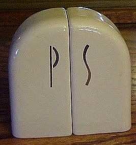 Vintage deco tombstone S & P range shakers