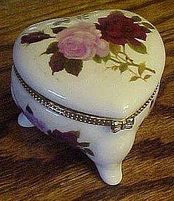 Heart shape  porcelain trinket box with roses