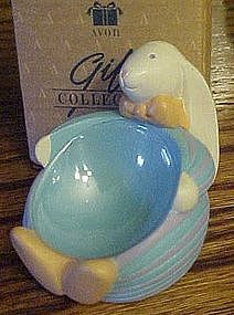 Avon White bunny Easter egg holder