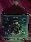 Happy Holidays Snowman cookie jar, freshness seal