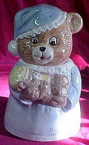 Mamma bear and baby bear ceramic cookie jar