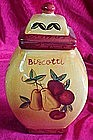 Biscotti hand painted fruits, cookie jar,freshness seal