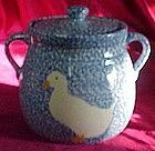 N.S. Gustin blue sponge cookie jar, with duck