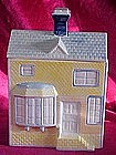 Victorian house cookie jar/ yellow & blue