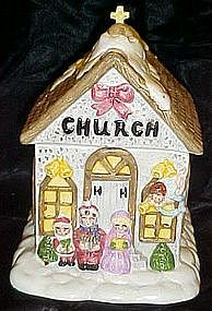 Little country church cookie jar, Christmas carolers