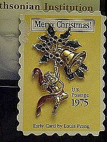Avon Smithsonian stamp Christmas stamp pin,  Angel