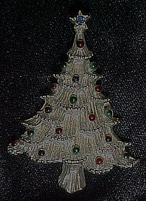 Silvertone christmas tree pin by Corina