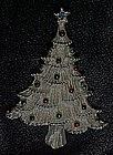 Silvertone christmas tree pin by Corina