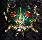 Wonderful enamel scarab beetle with rhinestones
