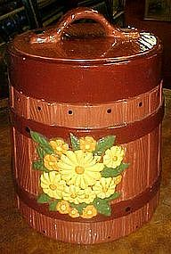 Oaken bucket with flowers  ceramic cookie jar