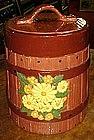 Oaken bucket with flowers  ceramic cookie jar