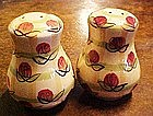 Yellow plaid shakers with roses, Hand painted