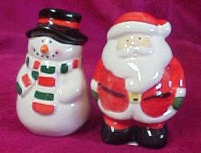 Ceramic Santa and Snowman salt & pepper shakers