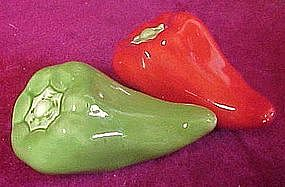 Red and green chili pepper salt and pepper shakers