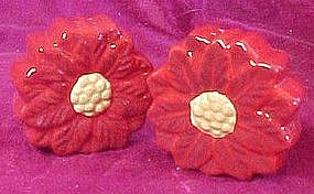Christmas poinsettia salt and pepper shakers