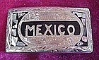 Fancy silver  Mexico belt buckle, with abalone,  ALPACA