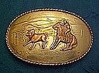 Vintage Comstock Calf roper buckle, German silver