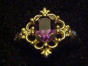 Vintage 1977 Avon Venetian lace ring, Amethyst